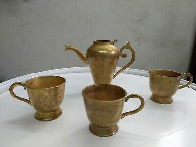 """Vintage  ISLAMIC ARABIC teapot and coffee cups made from copper """"HAND MADE"""""""