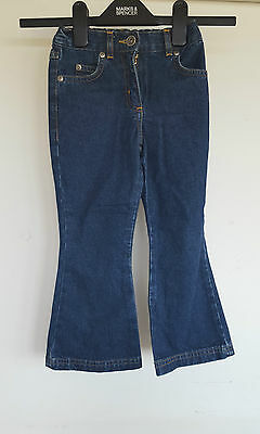 Lovely Next Girls Denim Jeans  Trousers Age 3 Years wide leg Elastane Back Waist