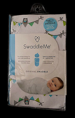 27ba5d4697cfb NEW-SwaddleMe Me Original Swaddle Blanket Gray Blue Owls Small-Medium 0