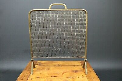 Vintage Deco Brass Fire Spark Mesh Screen Vintage Free Standing Open Fire Place