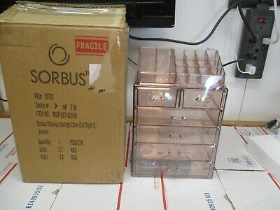 New Sorbus Acrylic Cosmetic Makeup Storage Case Style 2 Brown Mup-Set-42Brn