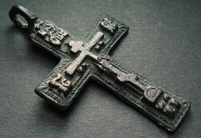 ANCIENT BRONZE CROSS RARE. RELIGIOUS ARTIFACT 17 - 18 CENTURY. 48 mm. (R.021)