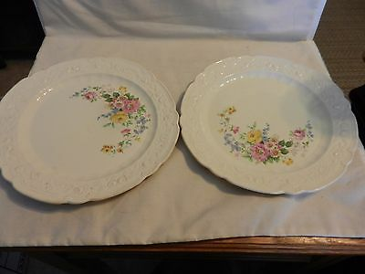 Pair of Antique Homer Laughlin China Dinner Plates 1922 Multicolored Flower