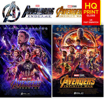 Avengers Infinity War End Game Movie 2019 Poster Print Set of 2 | A4 A3 A2 A1 |
