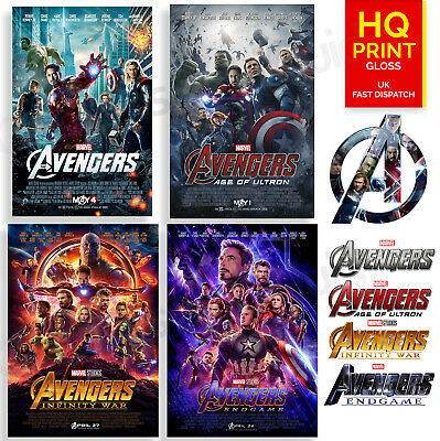 Avengers 4 3 2 1 Final Movie 2019 Poster Marvel Cinematic Movies | A4 A3 A2 A1 |