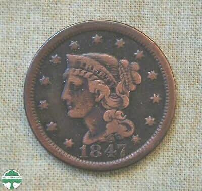 1847 Braided Hair Large Cent - Very Good Details