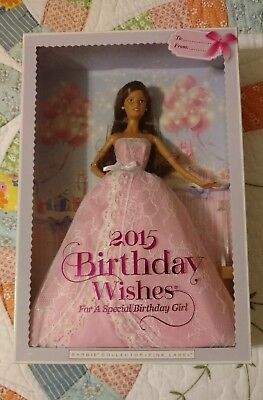 2015 Birthday Wishes Barbie Latina Pink Gown Model Muse NRFB Mattel Brunette Other Contemp Dolls