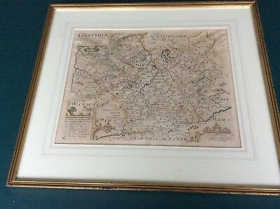 Quality -1637 Antique Map Of Leicestershire 1637 - Kip / Saxton