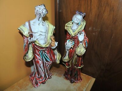 "Chinese type Mud Man& Woman 10"" signed P Marioni Mudman Vintage terracotta Paolo"