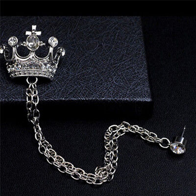 Vintage Rhinestone Crown Tassel Chain Brooch Lapel Pin for Coat Suit CF