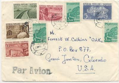 Albania 1960 air mail cover, Tirana to the US