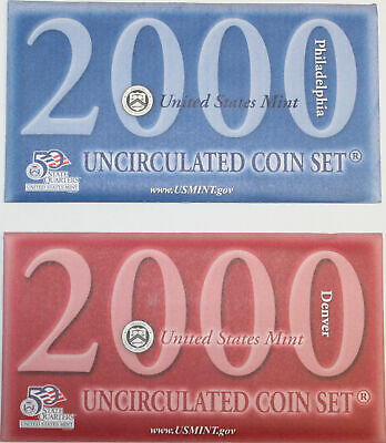 2000 US Mint Set, 20 Brilliant Uncirculated Coins Original Government Packaging