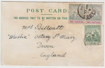 EARLY LITHO POSTCARD BARBADOS West Indies - Devon England 1902 3 stamps