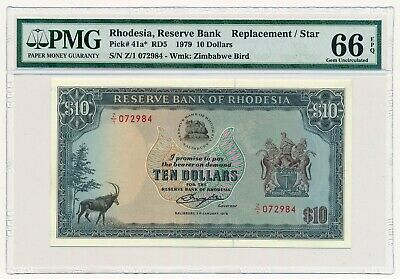 Rhodesia $10 1979 Replacement Note Z/1 P. 41a PMG 66 GEM UNC EPQ RARE