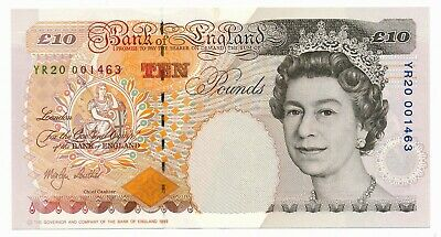 Bank of England 10 Pounds Lowther 2000 Prefix YR20 Millennium UNC Note RARE +COA