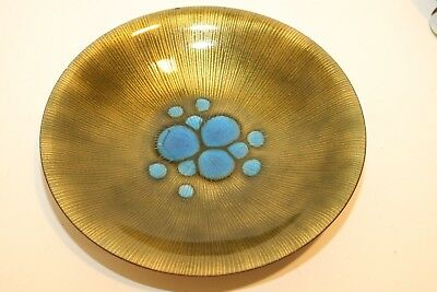 """VINTAGE Annemarie Davidson Abstract Enamel Copper 9"""" ROUND Plate Bowl MID-CENT"""