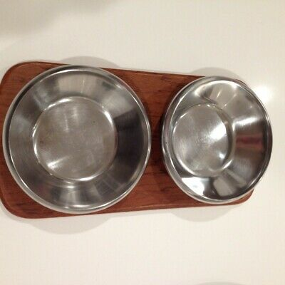 Vintage Mid Century Modern Danish Teak & Stainless Steel Lüthje Condiment Dishes
