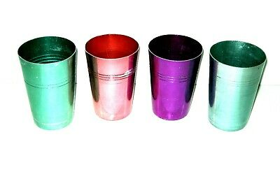Vintage Set of 4 Retro Anodised Aluminum Cups Assorted Colours Harlequin Pattern
