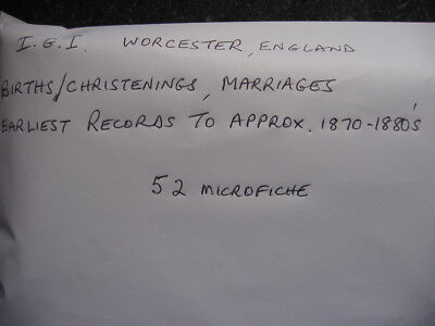 52 Microfiche For Worcester England - Igi Birth/Christenings & Marriages