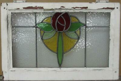 "MID SIZED OLD ENGLISH LEADED STAINED GLASS WINDOW Mackintosh Rose 24.5"" x 16.25"""