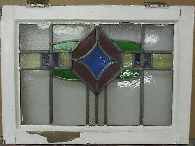 "OLD ENGLISH LEADED STAINED GLASS WINDOW Gorgeous Geometric Band 22"" x 16"""