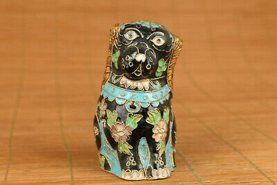 unique chinese old cloisonne hand carved dog statue collectable
