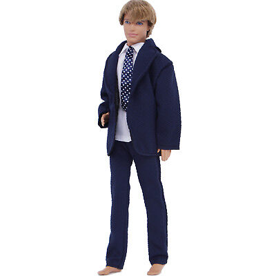 3In1 Navy Formal Suit Polka Tie Wedding Groom Clothes Tuxedo For 12 in. Ken Doll