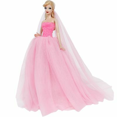 Pink Wedding Dress With Veil Accessories Clothes For 12 in. Doll Ball Gown Gift
