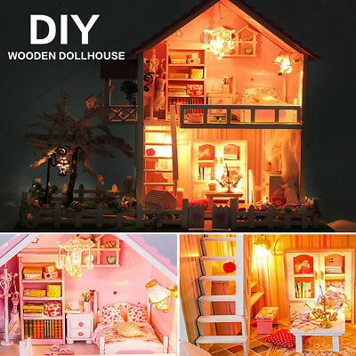 AU DIY Doll House LED Light Box Cabin Miniature Wooden Cherry Tree Kids Toy Gift