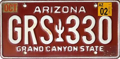 USA Number Licence Plate ARIZONA GRAND CANYON STATE CACTUS