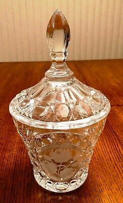 Large Vintage Clear Cut Crystal Glass Scalloped Edges Etched Flowers Candy Dish