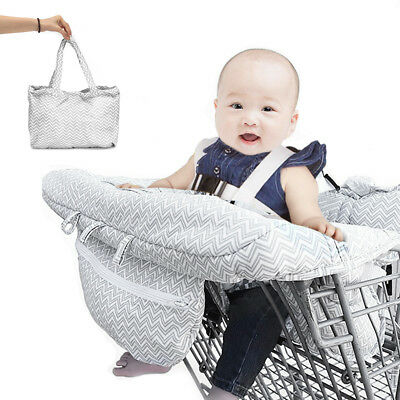 Kid Toddler Shopping Supermarket Cart High Chair Cover Compact Baby Harness GREY