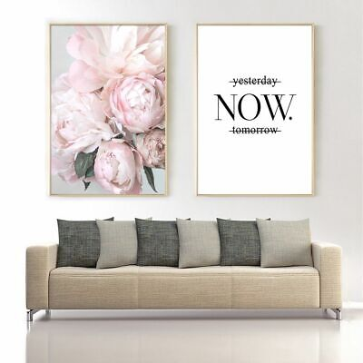 Wall Art Cactus Canvas Posters Blush Peony Flower Letter Living Room Decor Print