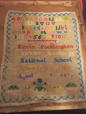 "1881 Vintage Antique Unframed Sampler of  ""EMILY POCKLINGTON"""