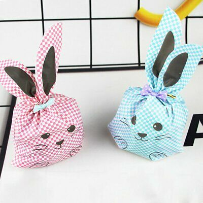 50/100X Rabbit Bunny Cookie Candy Plastic Bag Easter Gift Snack Decoration HU