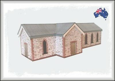 HO Scale Australian STONE PARISH CHURCH with Stained Glass Windows