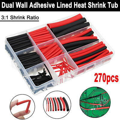 270Pcs Heat Shrink Wire Cable Tubing Tube Dual Wall Adhesive Lined Ratio 3:1 Set