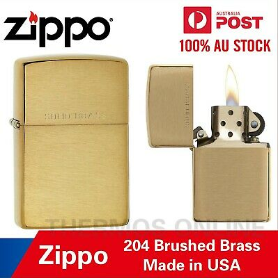 Genuine Zippo Lighter 204 Brushed Brass, Made In USA, OZ Seller Best Price!
