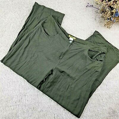 Islander womens olive green linen pants SIZE 18 ankle length summer cool (X)