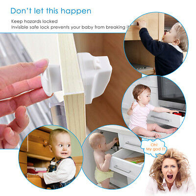 10PCS Magnetic Cabinet Locks Child Proof Cupboards Drawers Invisible Baby Safety
