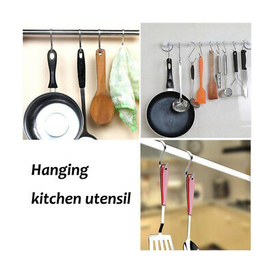 5Pcs Stainless Steel Heavy Duty S Hooks Hanging Garage Garden Clothes Hanger A3X