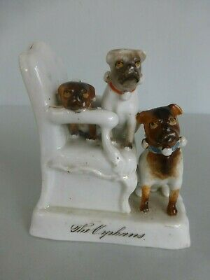 19THC. Continental Fairing titled THE ORPHANS depicting 3 Pug Dogs c.1870 -