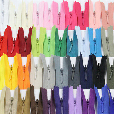 Nylon Zippers Closures Connectors Tailor Sewing 23 Colors Invisible Closed-end