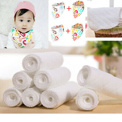 Reusable Baby Inserts liners for Cloth Diaper Nappy Cotton Bibs Washable Option