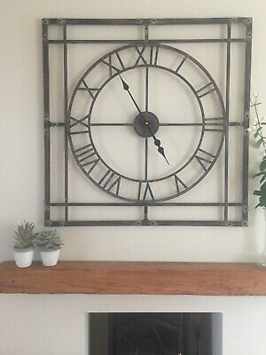 Large Square Industrial / Loft Skeleton Wall Clock Open Face Metal,  80 cm