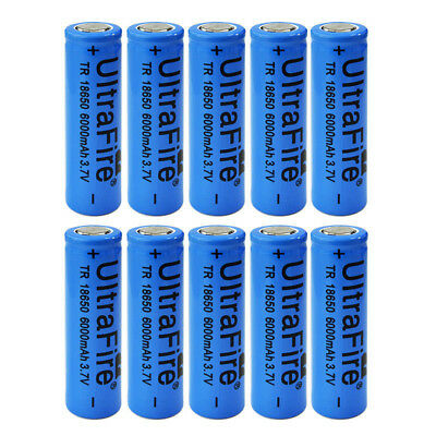 10pcs Ultrafire 6000mAh 18650 Battery Blue 3.7V Lithium Rechargeable Batteries