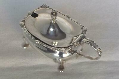 A Superb Solid Sterling Silver Mustard Pot With Glass Liner Birmingham 1942