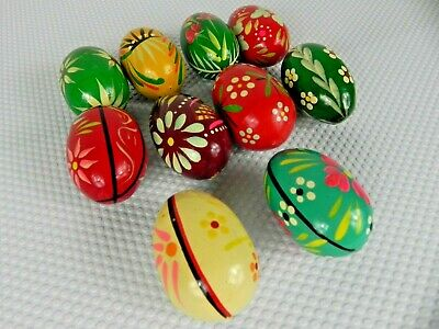 Wooden Vintage Hand Painted Eggs - Collectable - Rare - Unique - 1980s