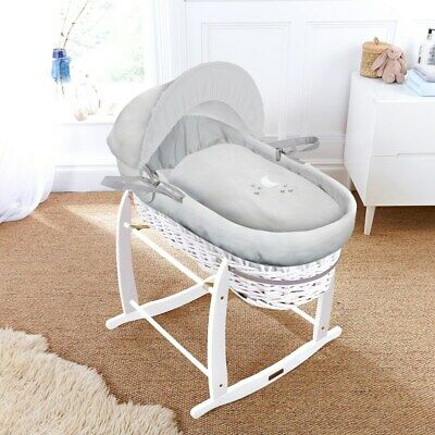 New Clair de lune white wicker moses basket hush a bye with white deluxe stand