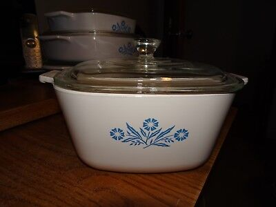 Vintage Corning Ware P-1 3/4-B Blue Cornflower Casserole Baking Dish With Lid
